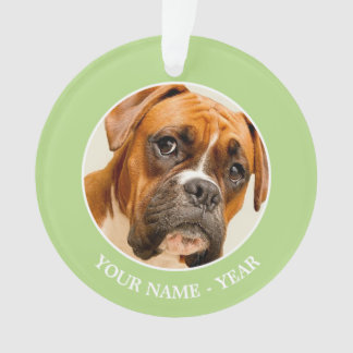 Boxer puppy on ivory cream backdrop. ornament