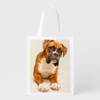 Boxer puppy on ivory cream backdrop. reusable grocery bag
