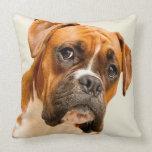 Boxer puppy on ivory cream backdrop. throw pillow