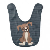 Boxer puppy on Navy Blue Pattern Background Baby Bib