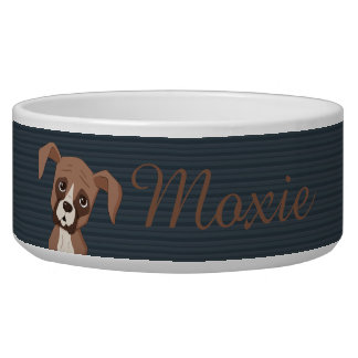 Boxer puppy on Navy Blue Pattern Background Bowl