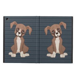 Boxer puppy on Navy Blue Pattern Background iPad Air Case