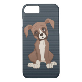 Boxer puppy on Navy Blue Pattern Background iPhone 7 Case