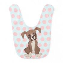 Boxer puppy on Pink Polka Dots Baby Bib