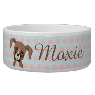 Boxer puppy on Pink Polka Dots Bowl