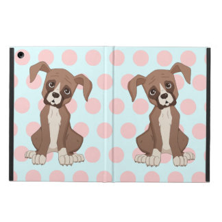 Boxer puppy on Pink Polka Dots Case For iPad Air