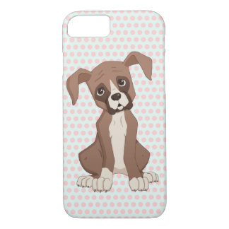 Boxer puppy on Pink Polka Dots iPhone 7 Case