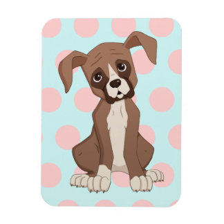 Boxer puppy on Pink Polka Dots Magnet