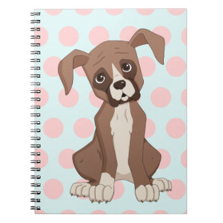 Boxer puppy on Pink Polka Dots Notebook