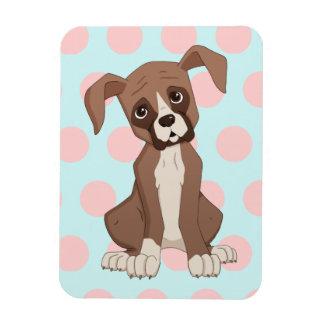 Boxer puppy on Pink Polka Dots Rectangular Photo Magnet