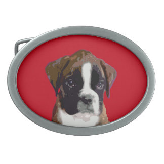 Boxer puppy oval belt buckle