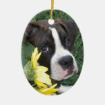 Boxer Puppy Peeking around Sunflowers Double-Sided Oval Ceramic Christmas Ornament
