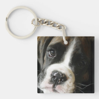 Boxer Puppy Single Sided Keychain