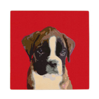 Boxer puppy wooden coaster