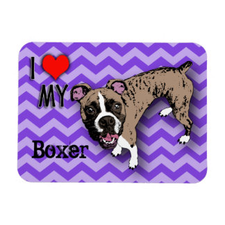 Boxer Purple Monochromatic Chevron Fridge Magnet