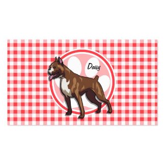 Boxer; Red and White Gingham Double-Sided Standard Business Cards (Pack Of 100)