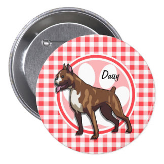 Boxer; Red and White Gingham Button
