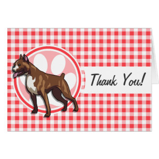 Boxer; Red and White Gingham Greeting Card