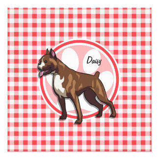 Boxer Red and White Gingham Personalized Invites