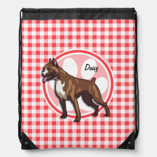 Boxer; Red and White Gingham Drawstring Bag