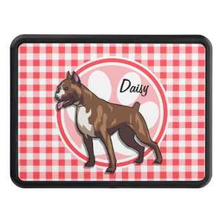 Boxer; Red and White Gingham Trailer Hitch Covers