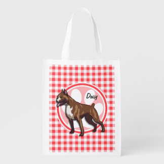 Boxer; Red and White Gingham Market Totes