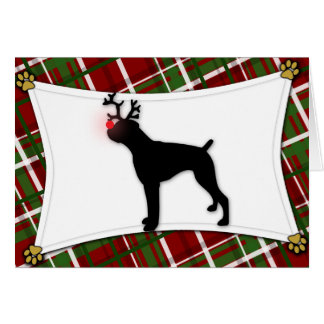 Boxer Reindeer Christmas Card