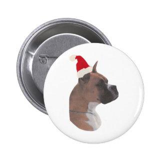 Boxer Santa Hat Button