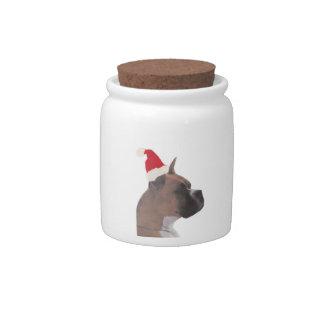 Boxer Santa Hat Candy Jar