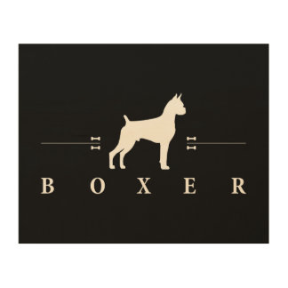Boxer silhouette -1- wood wall art