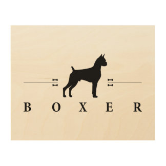 Boxer silhouette -2- wood wall art