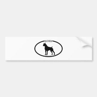 Boxer Silhouette Black Bumper Sticker