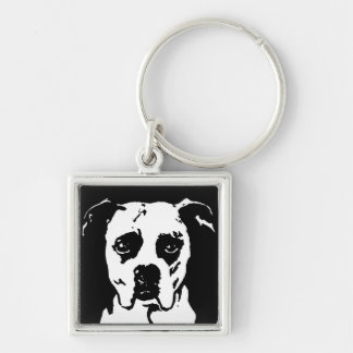 Boxer Square Metal Keychain