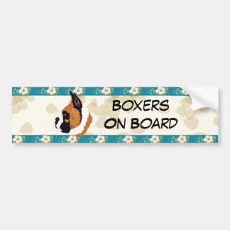 Boxer ~ Tan Leaves Motiff Bumper Sticker
