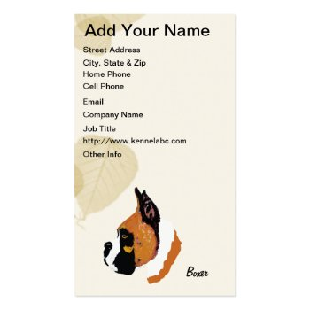 Boxer ~ Tan Leaves Motiff Business Cards