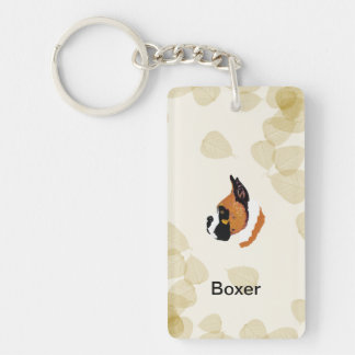 Boxer Tan Leaves Motiff Rectangular Acrylic Key Chain