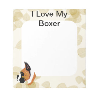 Boxer ~ Tan Leaves Motiff Note Pads