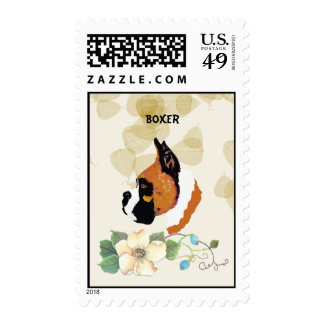 Boxer ~ Tan Leaves Motiff Postage Stamps