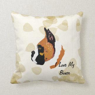 Boxer ~ Tan Leaves Motiff Throw Pillow