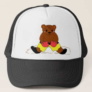 Boxer Teddybear in Yellow Trucker Hat