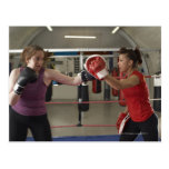 Boxer training with coach in gym post card