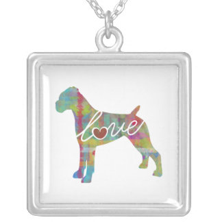 Boxer (Uncropped Ears) Watercolor Square Pendant Necklace