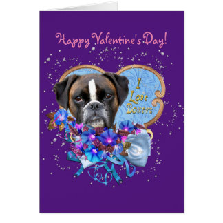 Boxer Valentine Love Greeting Card with Envelopes