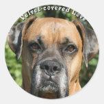 Boxer:  Velvet-covered Love Round Sticker