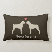 Boxer Wedding Dogs with Text Lumbar Pillow