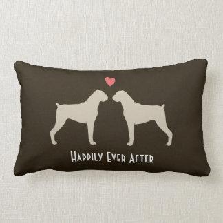 Boxer Wedding Dogs with Text Lumbar Pillow