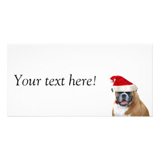 Boxer with a Santa hat Custom Photo Card
