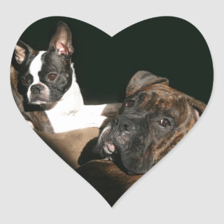 Boxers and Bostons: Awesome Twosome 2 Heart Sticker