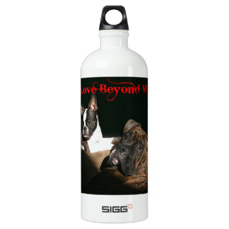 Boxers and Bostons:  Love Beyond Words Aluminum Water Bottle