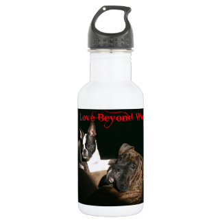 Boxers and Bostons:  Love Beyond Words Water Bottle